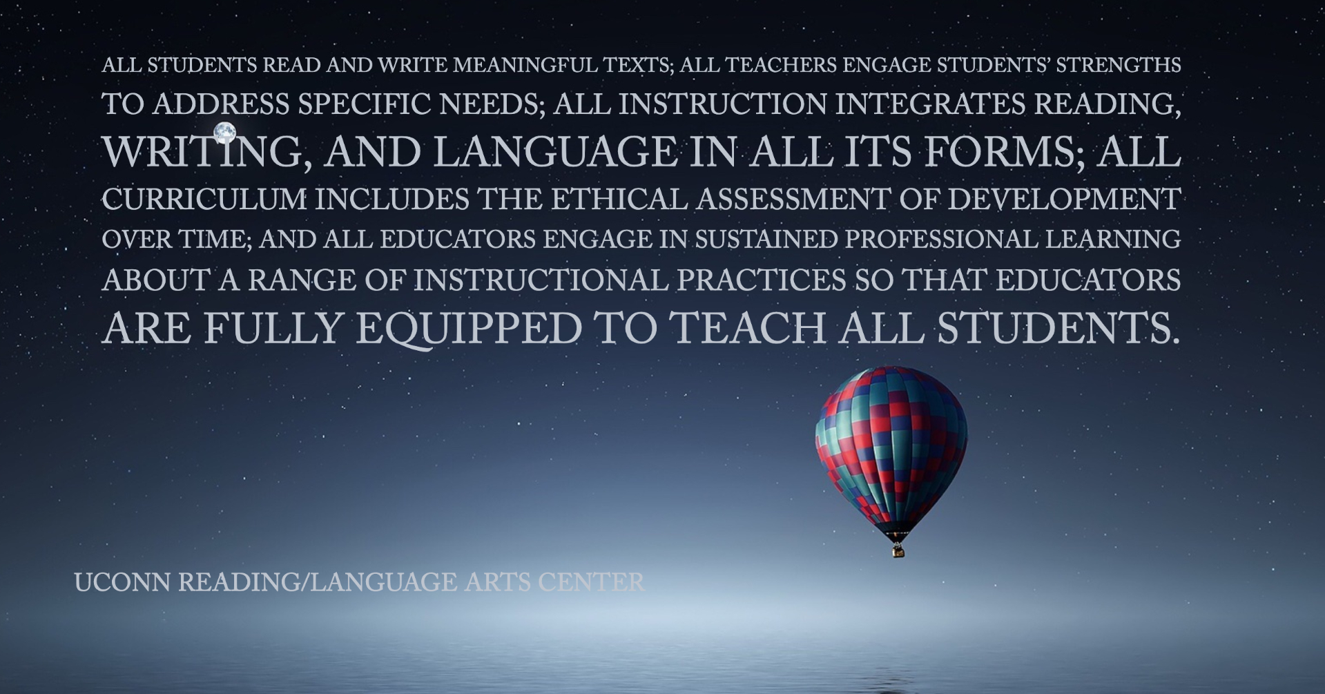 Image of Reading and Language Arts Mission, as stated on About Us page.
